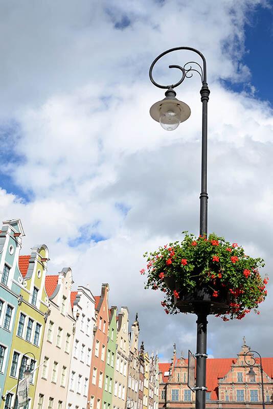 Wysoka latarnia w mieście z przyczepionym do słupa kwiatem
